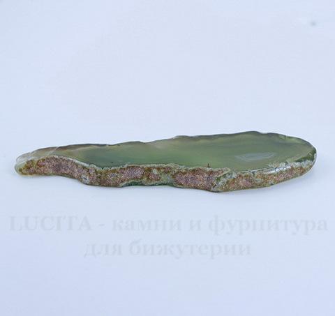 Подвеска Срез Агата (цвет - зеленый) 85х26х5,5 мм №23