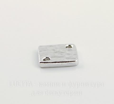"Коннектор ромб TierraCast ""Hammertone"" (1-1) 12х12 мм (цвет-платина)"