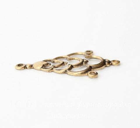 Винтажный декоративный элемент - коннектор (1-3) 31х19 мм (оксид латуни)