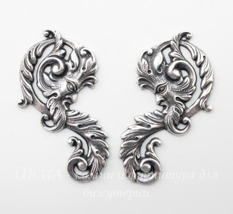 Винтажный декоративный элемент - Пара штампов 53х30 мм (оксид серебра)