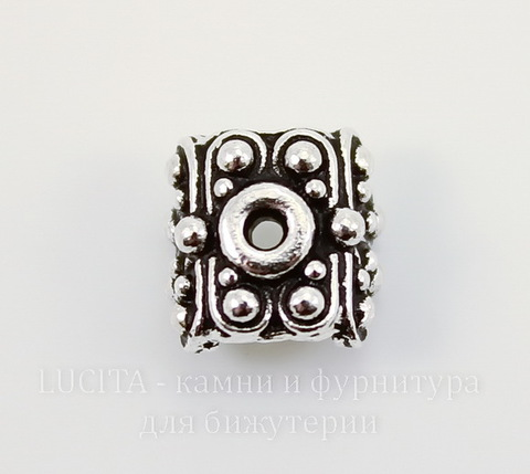 "Шапочка для плоской бусины или кулона TierraCast ""Raja"" (цвет-античное серебро) 9х9х6 мм"