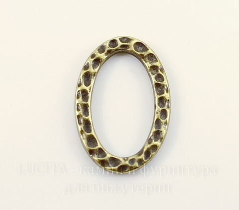 """Коннектор - кольцо овальное TierraCast """"Hammertone"""" (цвет-античная латунь) 18х13 мм"""