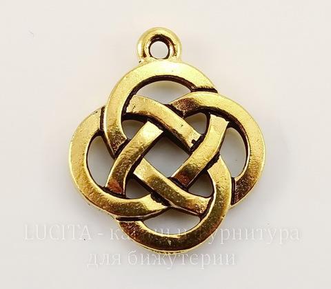 """Подвеска TierraCast """"Кельтский узел"""" (цвет-античное золото) 20х18 мм"""