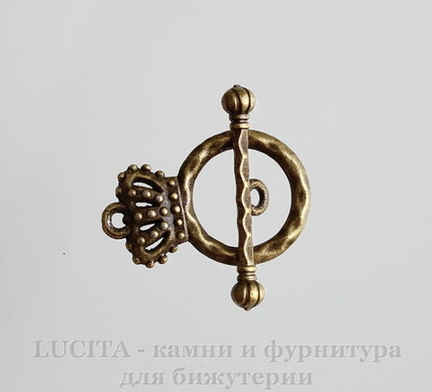 "Замок - тоггл из 2х частей ""Корона"" (цвет - античная бронза) 25х6х4 мм"