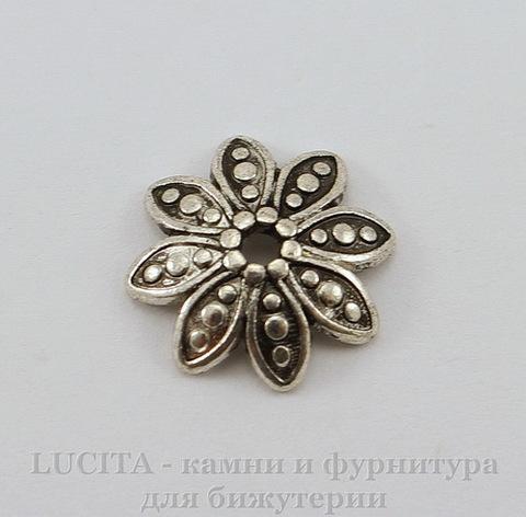 """Шапочка для бусины """"Цветок""""(цвет - античное серебро) 13 мм"""
