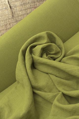 Ткань натуральная льняная смягченная, цвет киви