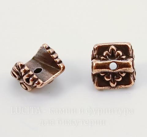 """Шапочка для плоской бусины или кулона TierraCast """"Luna"""" (цвет-античная медь) 9х9х7 мм"""