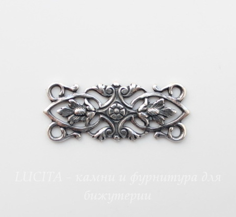 Винтажный декоративный элемент - коннектор (2-2) 30х12 мм (оксид серебра)