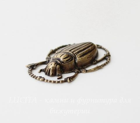 """Винтажный декоративный элемент - штамп """"Скарабей"""" 32х20 мм (оксид латуни)"""