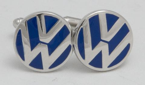 Запонки на рубашку белого металла Volkswagen