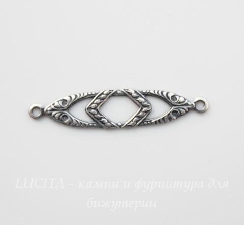 Винтажный декоративный элемент - коннектор (1-1) 28х6 мм (оксид серебра)