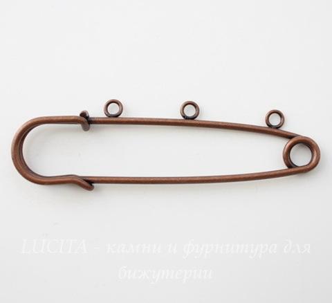 Основа для броши с 3 петельками  (цвет - медь) 76х23 мм ()