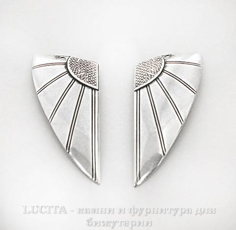 """Винтажный декоративный элемент - Пара подвесок """"Крылья"""" 38х17 мм (оксид серебра)"""