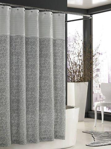 Элитная шторка для ванной Bedminster Scroll Flint Grey от Kassatex