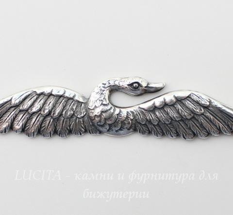 """Винтажный декоративный элемент - штамп """"Лебедь"""" 100х12 мм (оксид серебра)"""