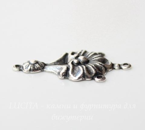 Винтажный декоративный элемент - коннектор (1-3) 27х14 мм (оксид серебра)