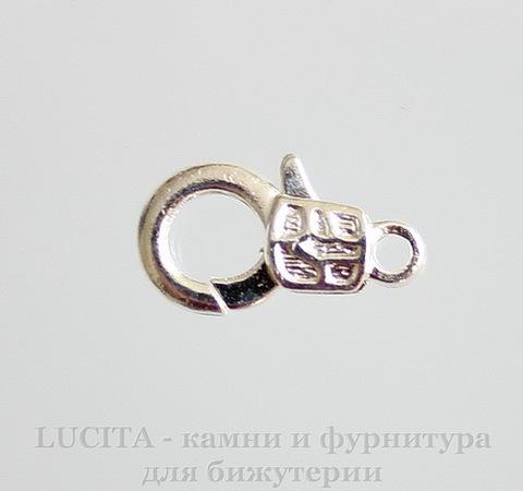 Замок - карабин (цвет - серебро) 18х10 мм