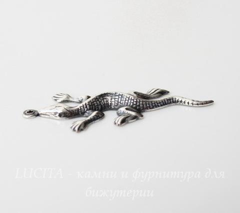 """Винтажный декоративный элемент - подвеска """"Ящерица"""" 34х15 мм (оксид серебра)"""