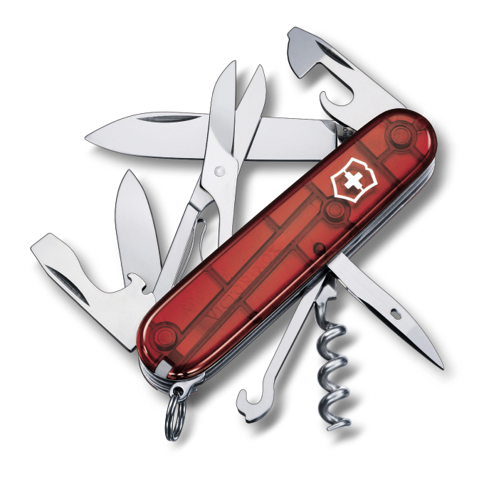 Швейцарский нож Victorinox Climber полупрозрачный красный (1.3703.T)