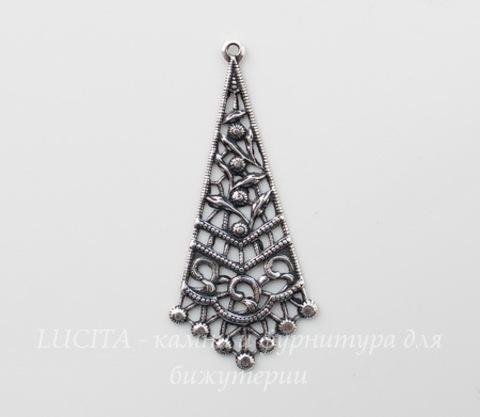 Винтажный декоративный элемент - подвеска 43х19 мм (оксид серебра)