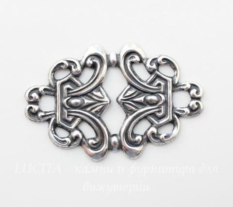 Винтажный декоративный элемент - филигрань 43х28 мм (оксид серебра)