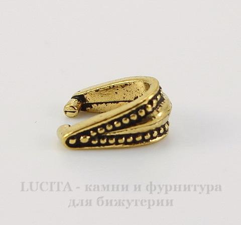 """Держатель для кулона TierraCast """"Королевский"""" (цвет-античное золото) 10х9х5 мм"""