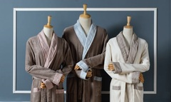 Элитный халат махровый Hampton серо-коричневый с голубым от Casual Avenue