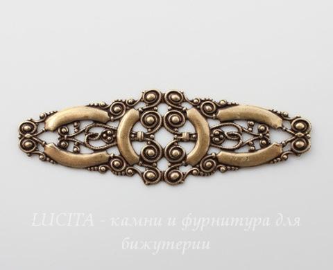 Винтажный декоративный элемент - филигрань 77х25 мм (оксид латуни)