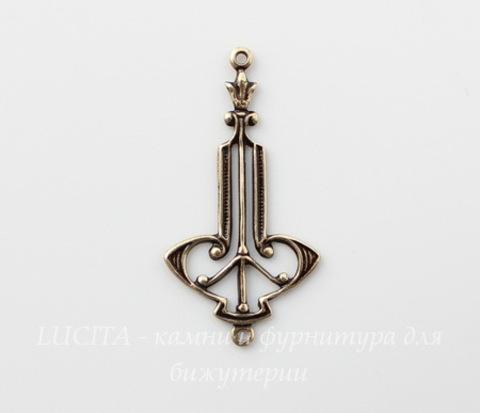 Винтажный декоративный элемент - коннектор Art Deco (1-1) 29х15 мм (оксид латуни)