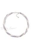 Бисерное ожерелье из 24 нитей серебристо-серый