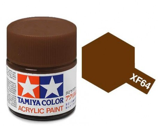 XF-64 Краска Tamiya, Красно-коричневый Матовый (Red Brown), акрил 10мл