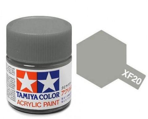 XF-20 Краска Tamiya, Серый Средний Матовый (Medium Grey), акрил 10мл