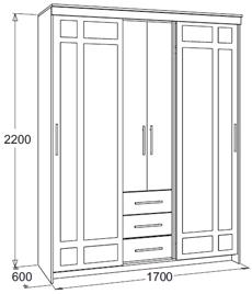 Шкаф-купе «Мираж-4» (молочный дуб/венге), Фант-мебель, г. Волжск
