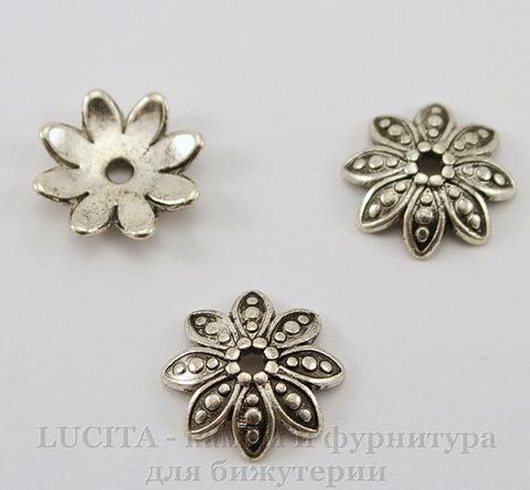 """Шапочка для бусины """"Цветок""""(цвет - античное серебро) 13 мм ()"""
