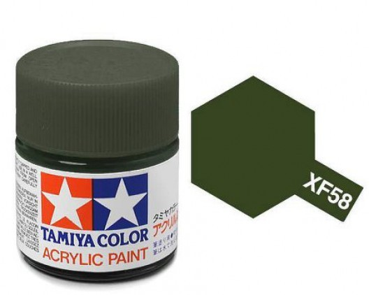 XF-58 Краска Tamiya, Оливково-зеленый Матовый (Olive Green), акрил 10мл