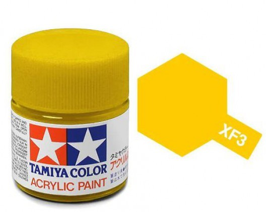 XF-3 Краска Tamiya, Желтый Матовый (Flat Yellow), акрил 10мл