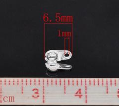 Концевик для маскировки узелка 6х4,5 мм, (цвет - серебро), 20 штук