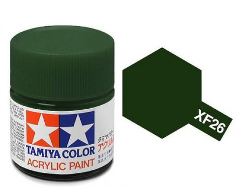 XF-26 Краска Tamiya, Насыщенный Зеленый Матовый (Deep Green), акрил 10мл