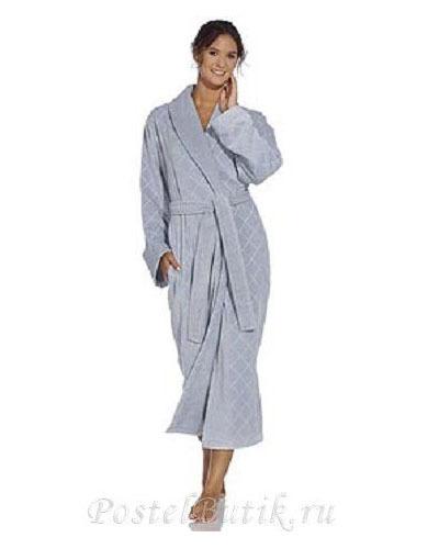 Элитный халат махрово-велюровый Doreena голубой от Vossen