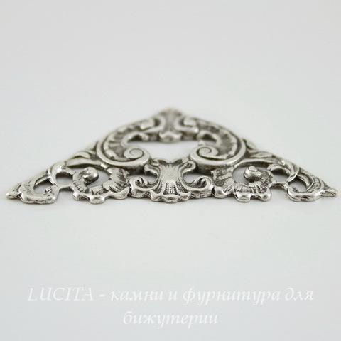 Винтажный декоративный элемент - штамп 49х25 мм (оксид серебра) ()