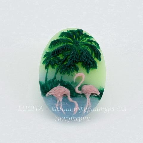 """Камея """"Фламинго """"  на зеленом фоне 18х13 мм"""