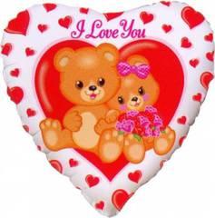 F 18 Сердце Влюблённые медвежата (46 см)