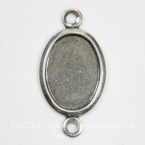Сеттинг - основа - коннектор (1-1) для камеи или кабошона 14х10 мм (оксид серебра) ()
