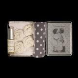 Металлическая коробочка: розочки+парфюм MATHILDE M