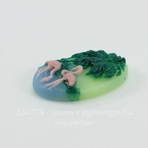 """Камея """"Фламинго """"  на зеленом фоне 18х13 мм ()"""