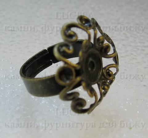 Основа для кольца с филигранным цветком 23 мм (цвет - античная бронза) ()