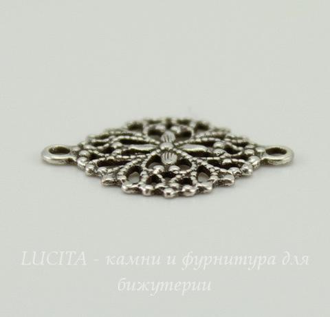 Винтажный декоративный элемент - коннектор - филигрань (1-1) 17х13 мм (оксид серебра)