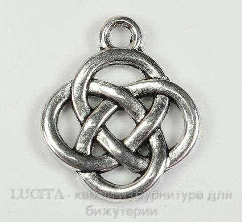 """Подвеска """"Кельтский узел"""" (цвет - античное серебро) 18х16 мм"""