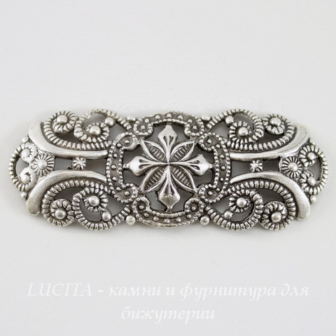 Винтажный декоративный элемент - филигрань 42х17 мм (оксид серебра)