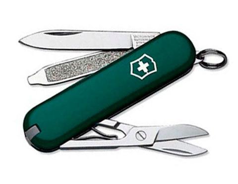 Нож-брелок Victorinox Classic, 58 мм, 7 функ, зеленый  (0.6223.4)